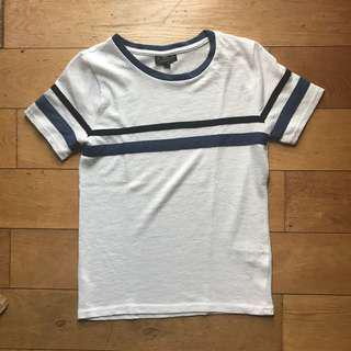Topshop Petite White Shirt with Black and Blue Stripe