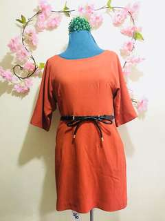 Rust Orange Casual Dress