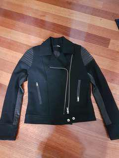 NICHOLAS The Label black biker style jacket with leather sample size 6