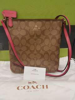 Preloved Authenthic Coach Signature Crossbody Sling bag in brown & pink