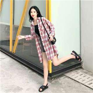 大碼新款韓版寬鬆百搭格子襯衫