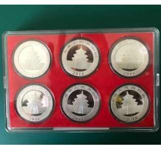 Year 2013-18, 99.9% Silver Chinese Panda coin  (6pcs set) with Acrylic Coin Case