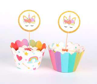 Unicorn Cupcake wrappers+toppers