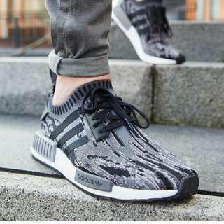 (PO) Adidas Mens NMD R1 PK Camo Glitch Grey Black