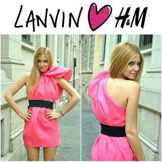 -Yunik- AUTHENTIC Lanvin for H&M One Shoulder Silk Dress In Bright Pink