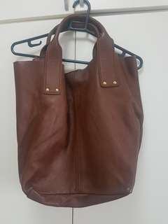9013f67ea6a9 ZARA Real Leather Brown Tote Bag