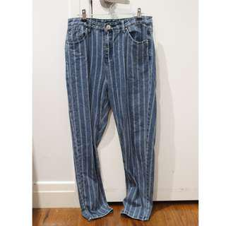 Striped denim jeans