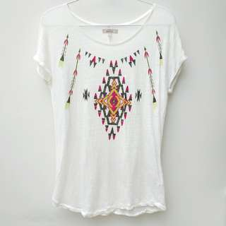(只穿1次)Zara 民族印花圖案上衣,100%亞麻 (worn once) Zara ethnical print t-shirt/ tee 100% linen