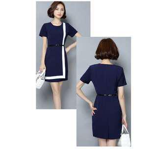 Blue dress with belt