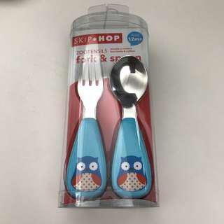 💡可換💡SKIP HOP*Zoo 貓頭鷹 Owl 全新 嬰兒餐具叉匙