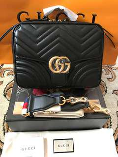 Gucci Marmont Matelasse Top Handle Bag with Sling Strap