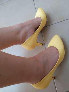 Baby yellow shoes heels 9cm