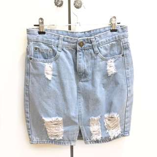Tattered Denim Skirt