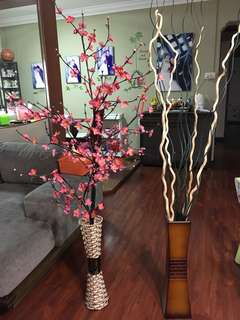 Bundle of 2 Artificial Flowers with Vase.