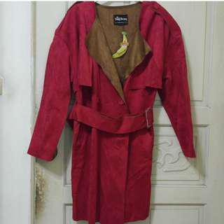 全新麂皮深紅大衣 #九月女裝半價