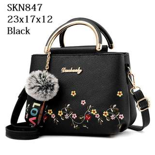 d28db62e8e45 Code   SKN847 Fashion Flower Bag with Fur Chain