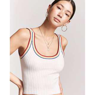 2804b3c3a0aa6  Forever21   SALE  BNWT Stripe-Trim Ribbed Tank Top