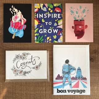 Congratulation card, bon voyage card and postcards