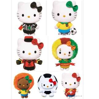 7 pcs set McDonald's x Hello Kitty 2014 K LEAGUE Collector's Kit  World Cup FIFA