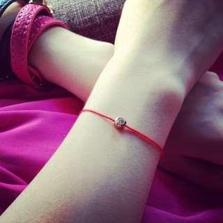 <Ladies & gentleman>鈦鋼單鑽歐美紅線玫瑰金不掉色不過敏生活防水氣質手環