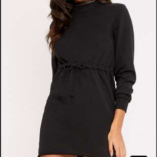 Jumper dress with drawstring
