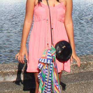 Ripcurl (US 8) salmon pink colored summer dress