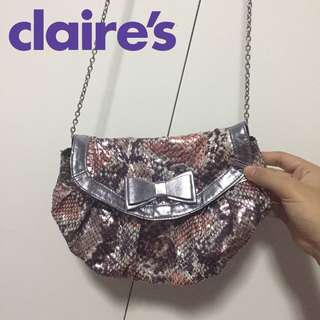 Claire's Faux Snakeskin Metallic Pink Silver Shoulder Bag