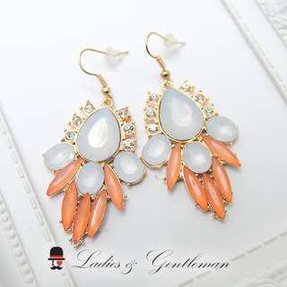 免費改夾式<Ladies & gentleman>橘色寶石民族風蛋白石垂墜穿式耳環