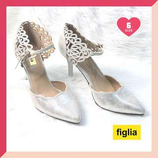 ❤ SALE! Figlia Silver Formal Elegant Detailed Heel Shoes