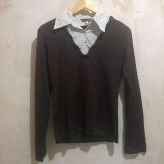 Sweater+neck shirt