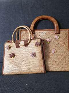 Woven ratten handbags