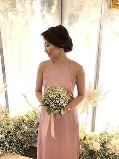 Dress panjang vintage pink custom made