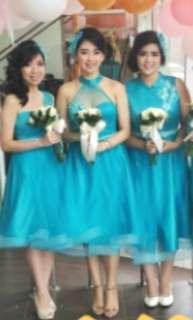 Bridesmaid dress hijau tosca (include hair piece)