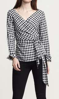 Black & White Checkered Wrap Top