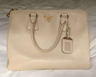 Authentic Prada Saffiano Pebbled Leather Galleria Bag in Sabbia Colour