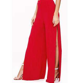 Red Side Split Trousers - WITH TAG