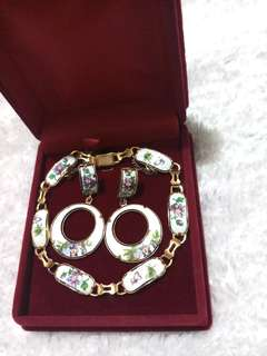 Vintage Floral Bracelet & Earrings
