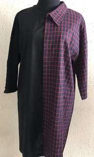 Half checkered shirt dress