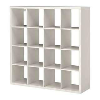 Kallax 4x4 shelves. Plus 6 additional shelve insert 90% new