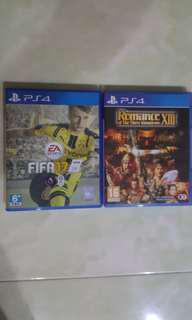 For sale, PS4 Fifa 17 & Romance of the 3 Kingdom