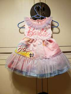 Barbie pink baby girl dress for 1 year old