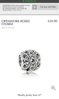 Pandora openwork roses charm