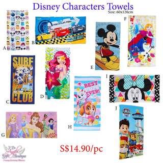 Cartoon Characters Towels - Ariel, Princess, Paw Patrol, Mickey, Tsum Tsum
