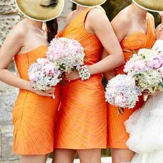 Orange Summer bridesmaid Dress