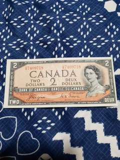 1954 QEII *DEVIL'S FACE HAIRDO* $2 Banknote *GEM UNC*