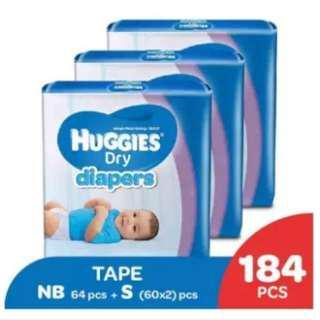 Huggies Dry Diapers NB64 + S60 x 2 Super Jumbo