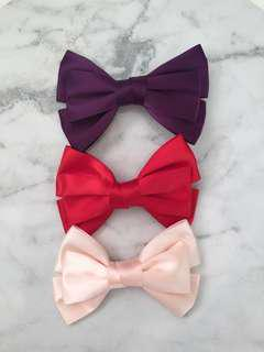 Satin bow hair clips x3