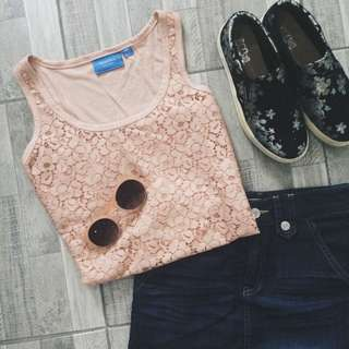 SimplyVera Pink Lace Top