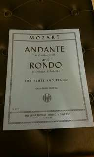 Mozart Andante in C major, K.315 and Rondo in D major,  K. Anh.184 for flute and piano