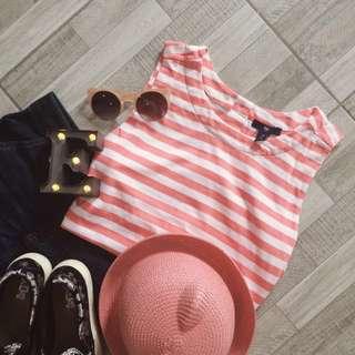 Gap Pink Striped Sleeveless Shirt